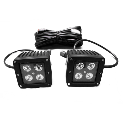 Race Sport Lighting LED Auxiliary Light Cube Kit with Spot Optical Beam 3x3 Blacked Out Series 3x3 - RSBO3X3