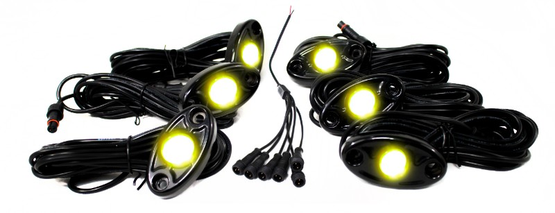 Race Sport Lighting Yellow 6 LED Glow Pod Kit with Brain Box IP68 12V with All Hardware - RSLD6KITY