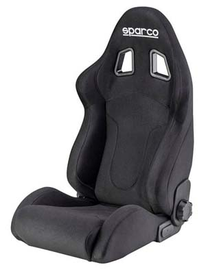 Sparco R600 Black Leather Competition Seat - 00968PNR