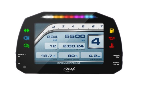 Aim Sports MXS 1.2 Strada Icons Version Dash with CAN & RPM Cable - XA3MXSST12I010