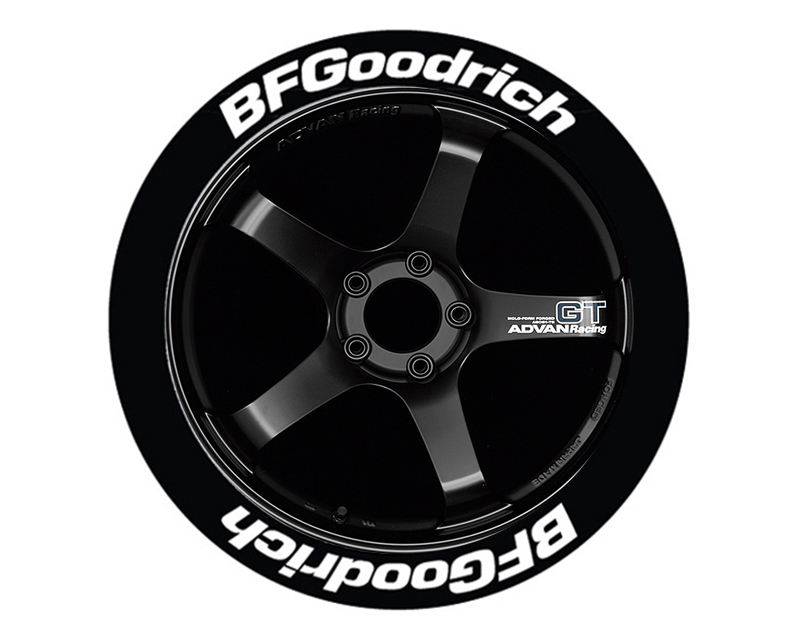 """Tire Stickers Permanent Raised Rubber Lettering 'Bf Goodrich' - 4 Of Each - 19""""-21"""" - .75"""" - White - BFG-1921-75-4-W"""
