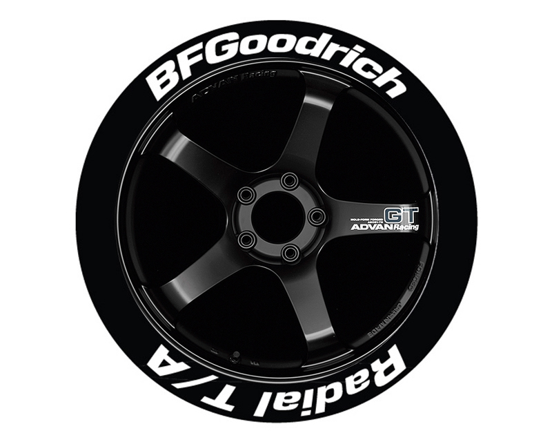 """Tire Stickers Permanent Raised Rubber Lettering 'Bf Goodrich Radial T/A' - 4 Of Each - 17""""-18"""" - 1.25"""" - Orange - BFGRADTA-1718-125-4-O"""