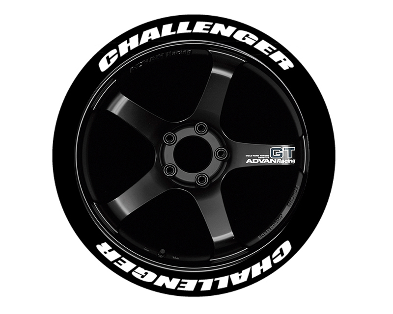 """Tire Stickers Permanent Raised Rubber Lettering 'Challenger' - 4 Of Each - 19""""-21"""" - .75"""" - Yellow - CHALL-1921-75-4-Y"""