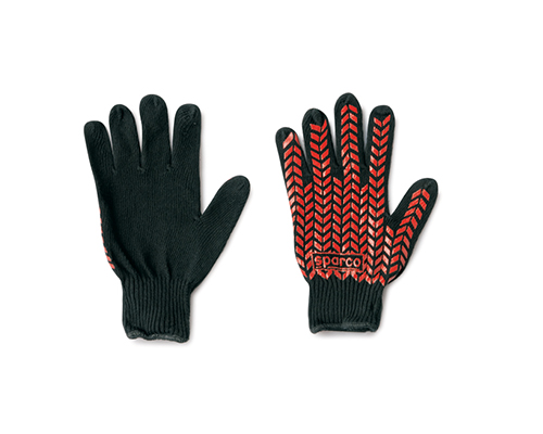 Sparco Black Cotton Pit Crew Gloves - 00207NR