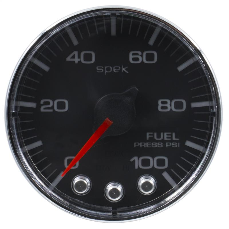 AutoMeter GAUGE; FUEL PRESS; 2 1/16in.; 100PSI; STEPPER MOTOR W/PEAK/WARN; BLK/CHRM; SPEK - P314318