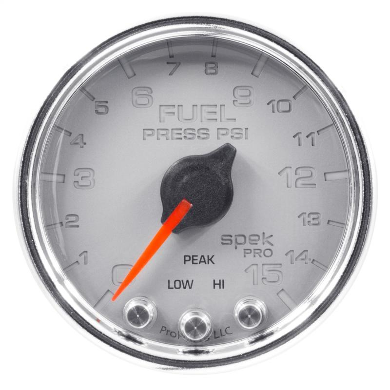 AutoMeter GAUGE; FUEL PRESS; 2 1/16in.; 15PSI; STEPPER MOTOR W/PEAK/WARN; SLVR/CHRM; SPEK - P31521