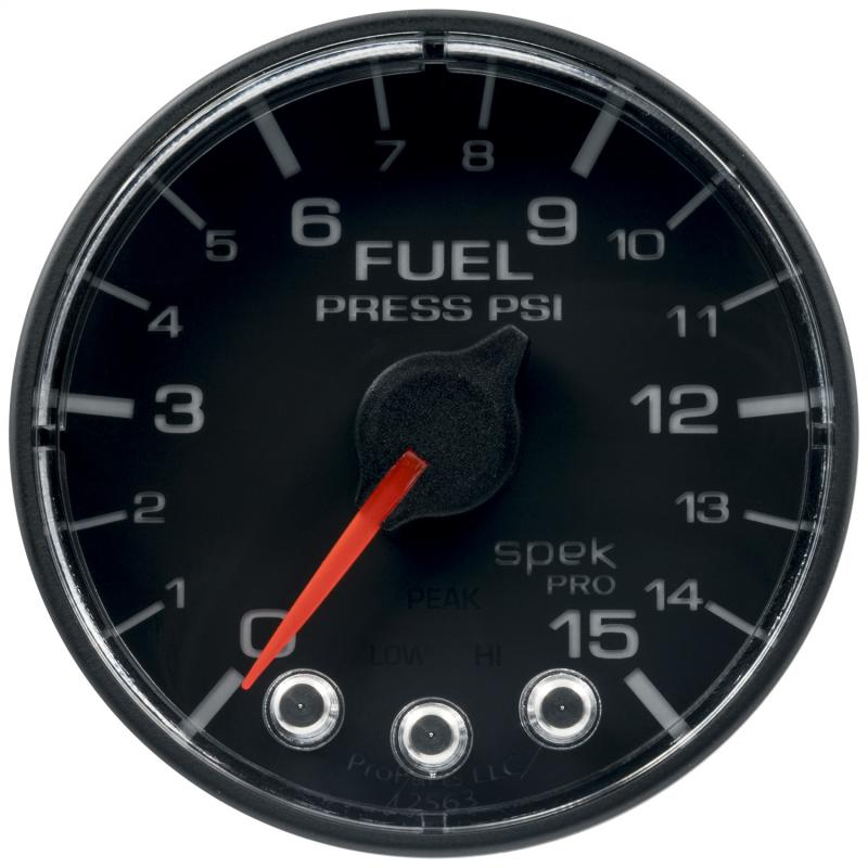 AutoMeter GAUGE; FUEL PRESS; 2 1/16in.; 15PSI; STPR MTR W/PK/WRN; BK/BK; SPEK; NO O-RING - P315324