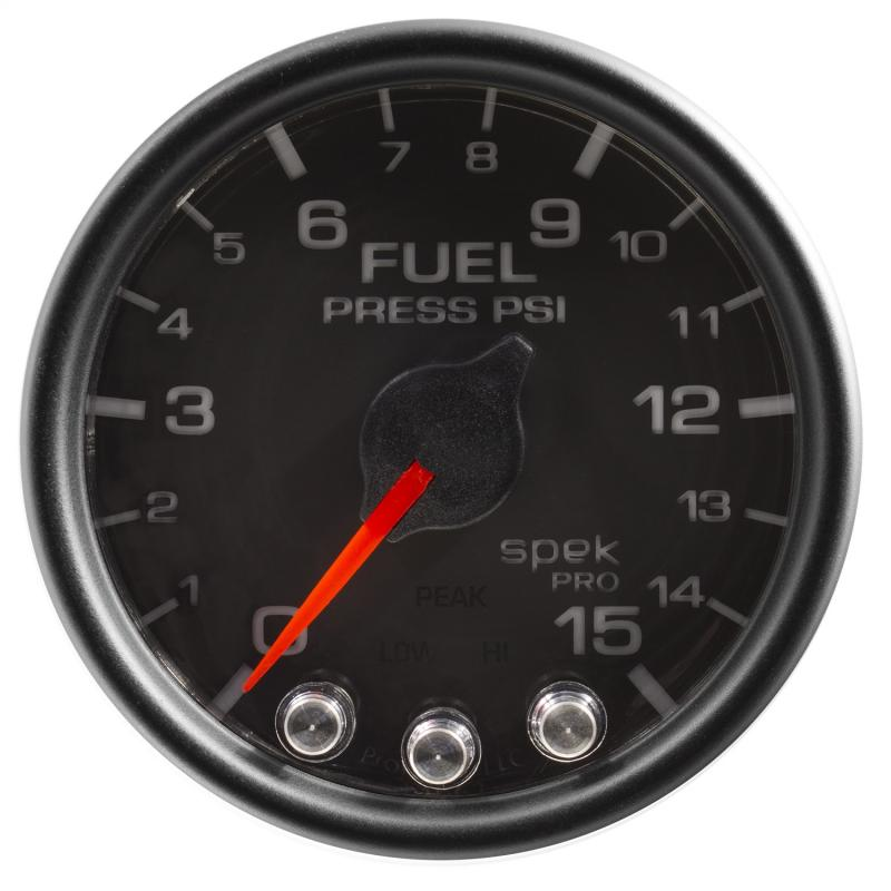 AutoMeter GAUGE; FUEL PRESS; 2 1/16in.; 15PSI; STEPPER MOTOR W/PEAK/WARN; BLK/BLK; SPEK - P31532