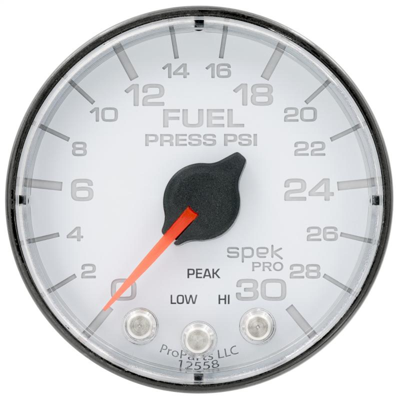 AutoMeter GAUGE; FUEL PRESS; 2 1/16in.; 30PSI; STEPPER MOTOR W/PEAK/WARN; WHT/BLK; SPEK - P316128