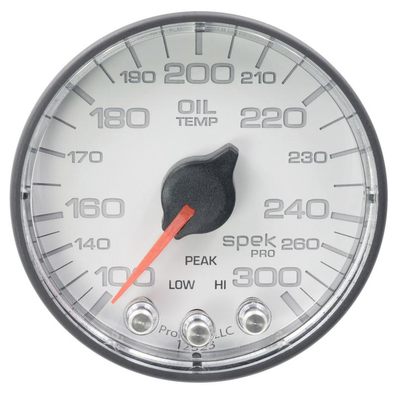 AutoMeter GAUGE; OIL TEMP; 2 1/16in.; 300deg.F; STEPPER MOTOR W/PEAK/WARN; WHT/BLK; SPEK-P - P322128