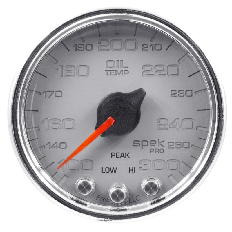 AutoMeter GAUGE; OIL TEMP; 2 1/16in.; 300deg.F; STEPPER MOTOR W/PK/WRN; SLVR/CHRM; SPEK-PR - P32221