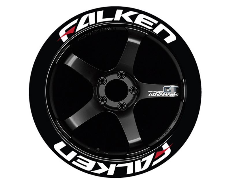 """Tire Stickers Permanent Raised Rubber Lettering 'Falken Azenis Red Dash' - 4 Of Each - 14""""-16"""" - 1.5"""" - White - FALAZERED-1416-15-4-W"""