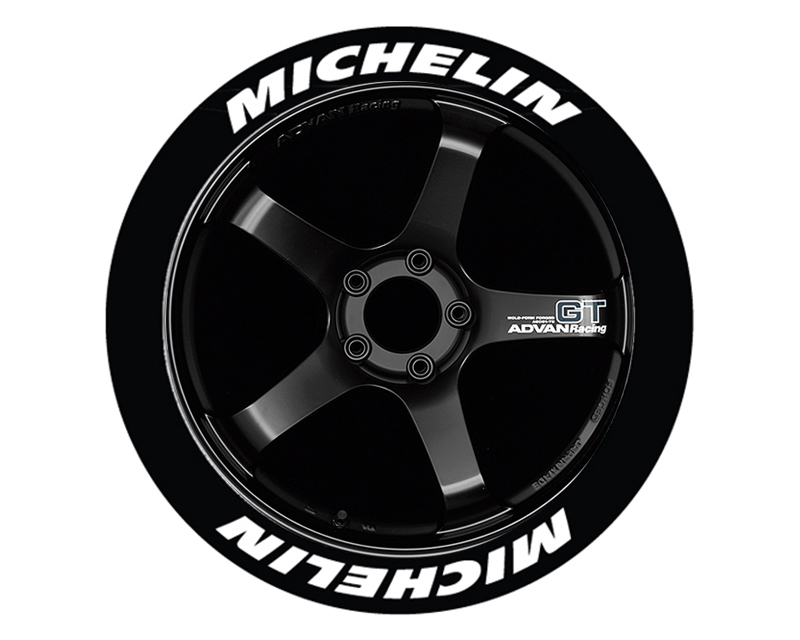 """Tire Stickers Permanent Raised Rubber Lettering 'Michelin' - 8 Of Each - 19""""-21"""" - 1.25"""" - Yellow - MIC-1921-125-8-Y"""