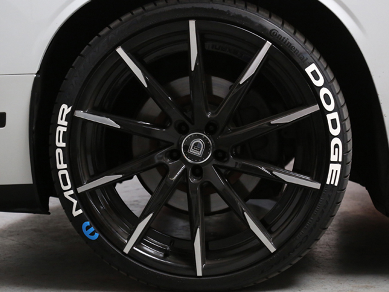 """Tire Stickers Permanent Raised Rubber Lettering 'Mopar With Blue Logo' - 8 Of Each - 14""""-16"""" - 1.5"""" - White - MOP-1416-15-4-W"""