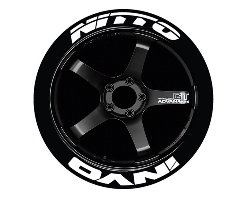 """Tire Stickers Permanent Raised Rubber Lettering 'Nitto Invo' - 4 Of Each - 19""""-21"""" - 1.25"""" - White - NITINV-1921-125-4-W"""