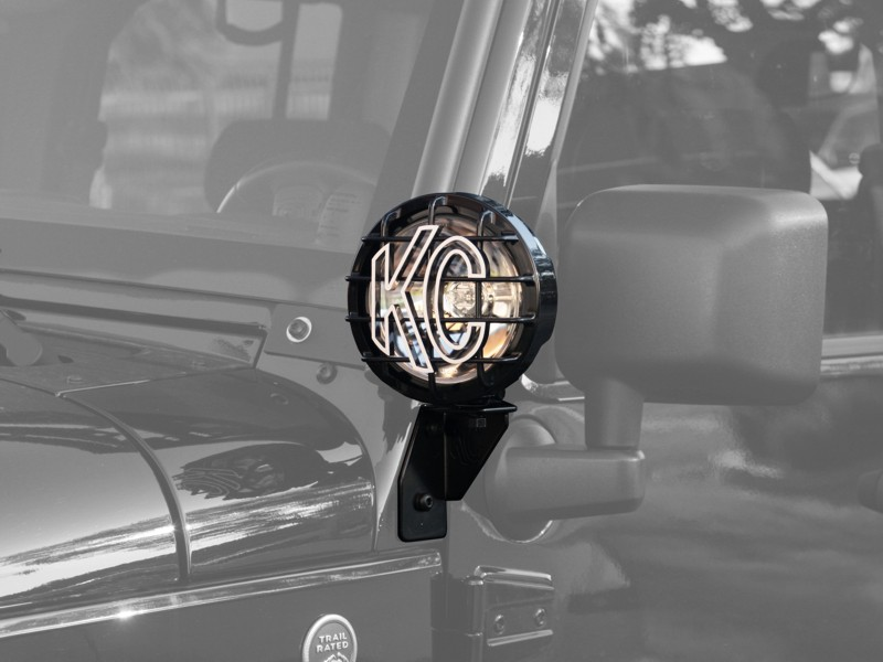 KC HiLiTES Windshield Side Mount Light Bracket for Jeep JK (2007-2018) - Black - KC #7317 Jeep Wrangler - 7317